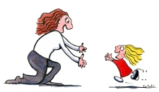 woman with open arms and little kid girl running to her