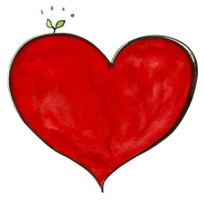 heart with a green sprout appearing