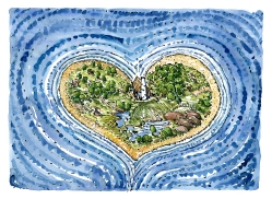Drawing of a heart shaped island