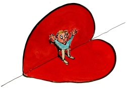 drawing of a man caught in a heart formed search light