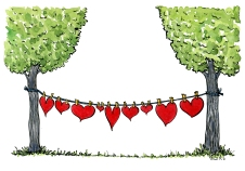 illustration of a line of hearts on a drying line