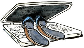 man eaten by his computer so you can only see his feet