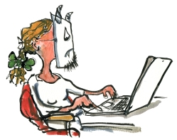 woman in front of a computer laptop, with a troll mask on