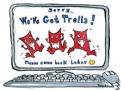 Computer screen with trolls having fun and the text we got trolls, please come back later