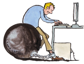 Man in front of a computer sitting on a steel ball that he is chained toTechnology Illustration by Frits Ahlefeldt, Hiking.org