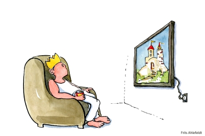 Man with a kings crown looking at his tv, that shows a princess in a tower