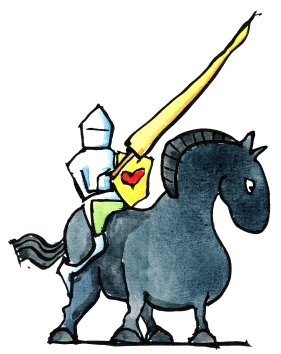 Drawing of a knight with heart shield on a dark horse
