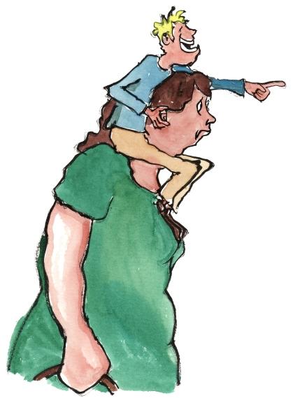 little man sitting on shoulders of woman