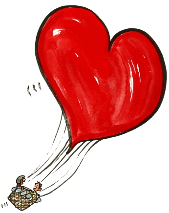 Drawing of a balloon, shaped like a heart, with a couple in it high in the air
