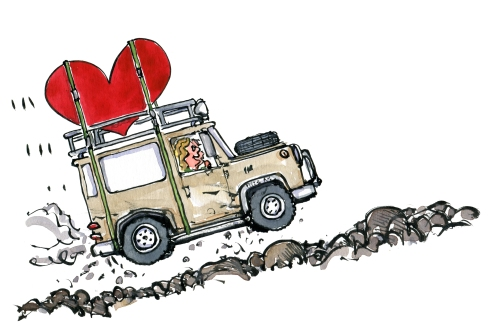 Jeep landrover car with heart on the roof drawing