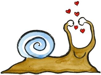 love yourself snail drawing, snail looking at itself - in love