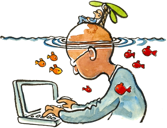 Man sitting on an island, that is also the head of a man under water sitting in front of a computer