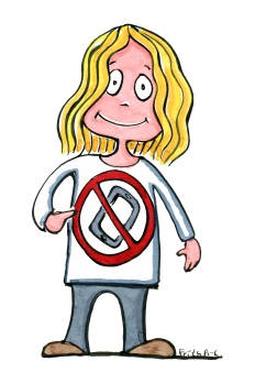 Blond girl with a no - phone sign, pointed at it