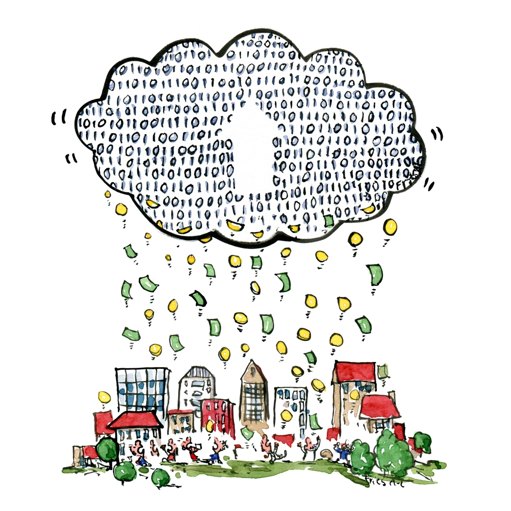 Drawing of digital clouds uploading money from a city
