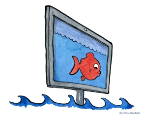 Drawing of a fish on a monitor and real waves rising