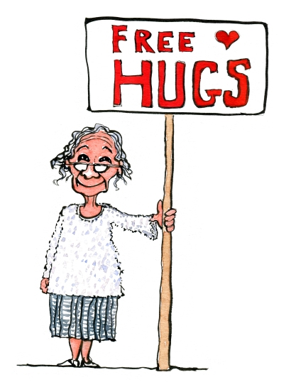 """drawing of an old lady with a sign saying """"free hugs"""""""