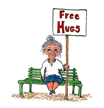 """old woman on a bench with a sign saying """"free hugs"""""""