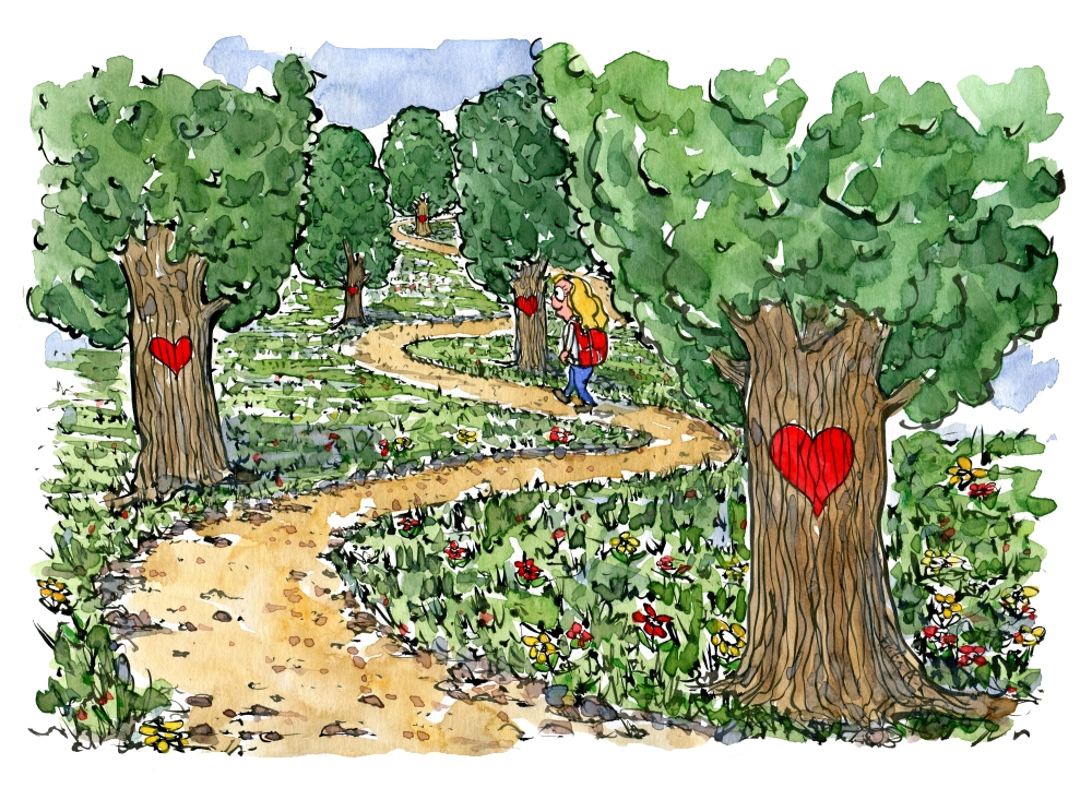 a path marked with hearts and a woman hiker walking