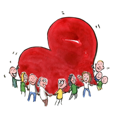 Drawing of people around a huge red heart