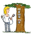 Woman with a smartphone standing next to a tree with three ways to plug it in - soul, mind and body