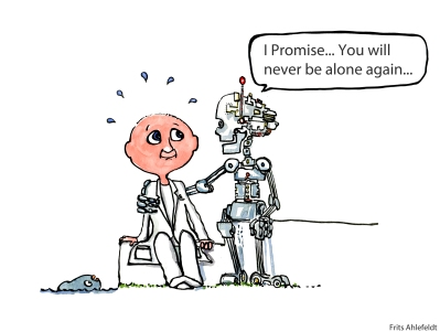 Drawing of a scientist sitting with a robot who say I promise you will never be alone again
