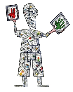 Drawing of a man made up of blogs, articles, updates and stories, holding two tablets