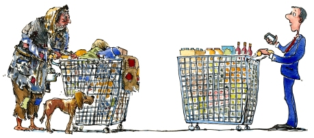 homeless man with shopping trolley meet businessman with shopping trolley