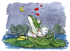 Drawing of a frog at night with hearts around it