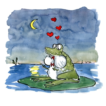 Frog singing out love songs in the night