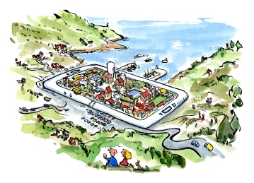 Drawing of a city by the coast inside a smartphone or tablet