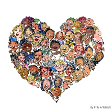 Drawing of a heart with people in it