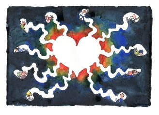 Drawing of a community heart with people digging tunnels to their own space