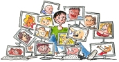 Woman sitting with all her online friends on different screens