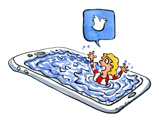 Drawing of a woman drowning in her smartphone, crying out on twitter
