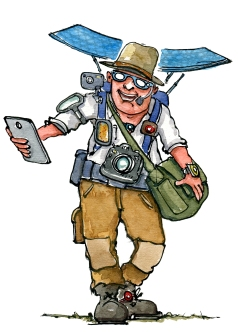 Hiker loaded with smartphones, tablets and other smart gadgets