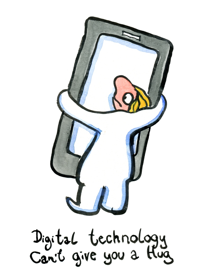 Woman holding a smartphone, trying to hug it