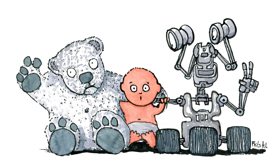 Drawing of a kid between a teddy bear and a robot