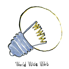 Drawing of a lightbulb with WWW light