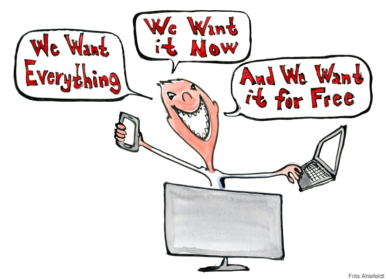 Man with smartphone, laptop and computer saying we want everything, we want it now and we want it for free
