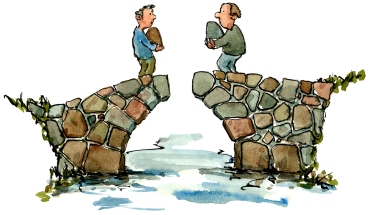 Drawing of two bridge builders