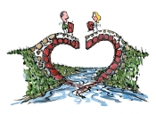 Two people standing on top a heart shaped bridge building it