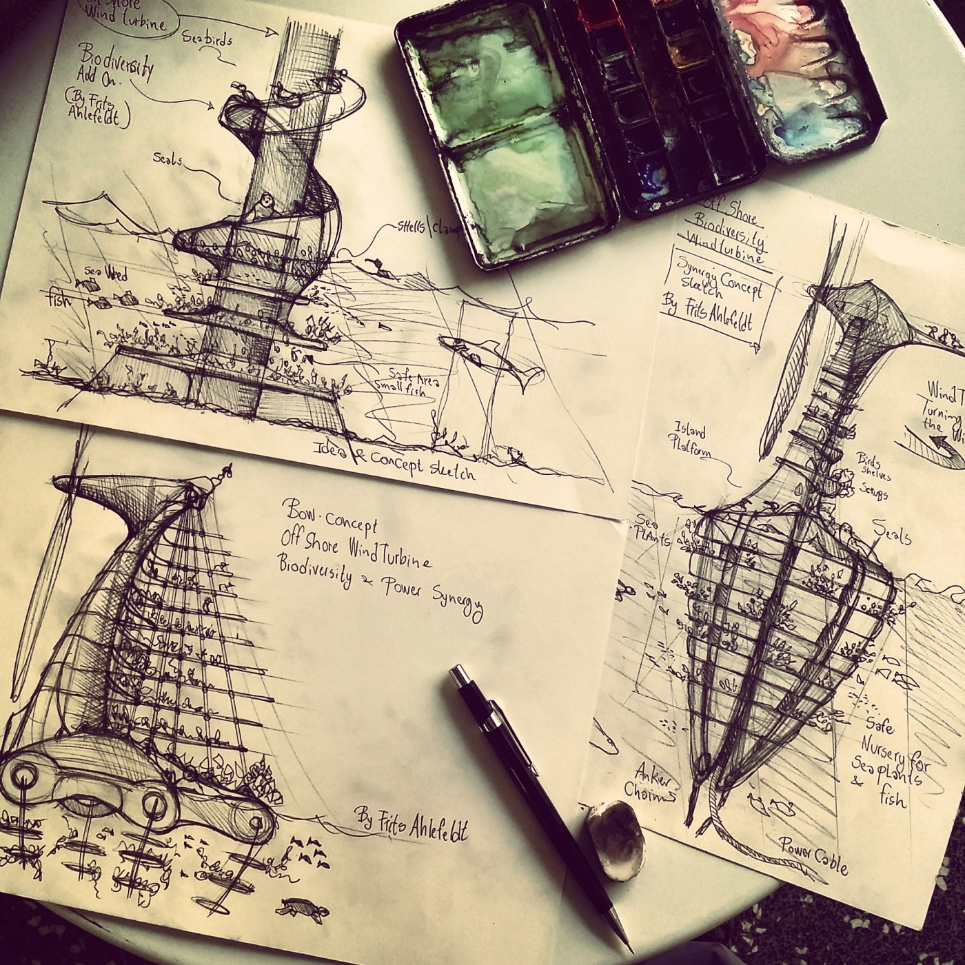 Concept sketch of bio wind generator by Frits Ahlefeldt