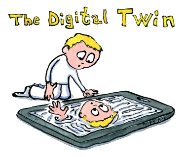 Drawing of a person looking at his digital twin on a screen