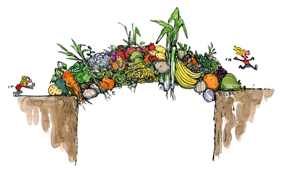 Bridge of change - here diet seen as a food bridge with vegetables