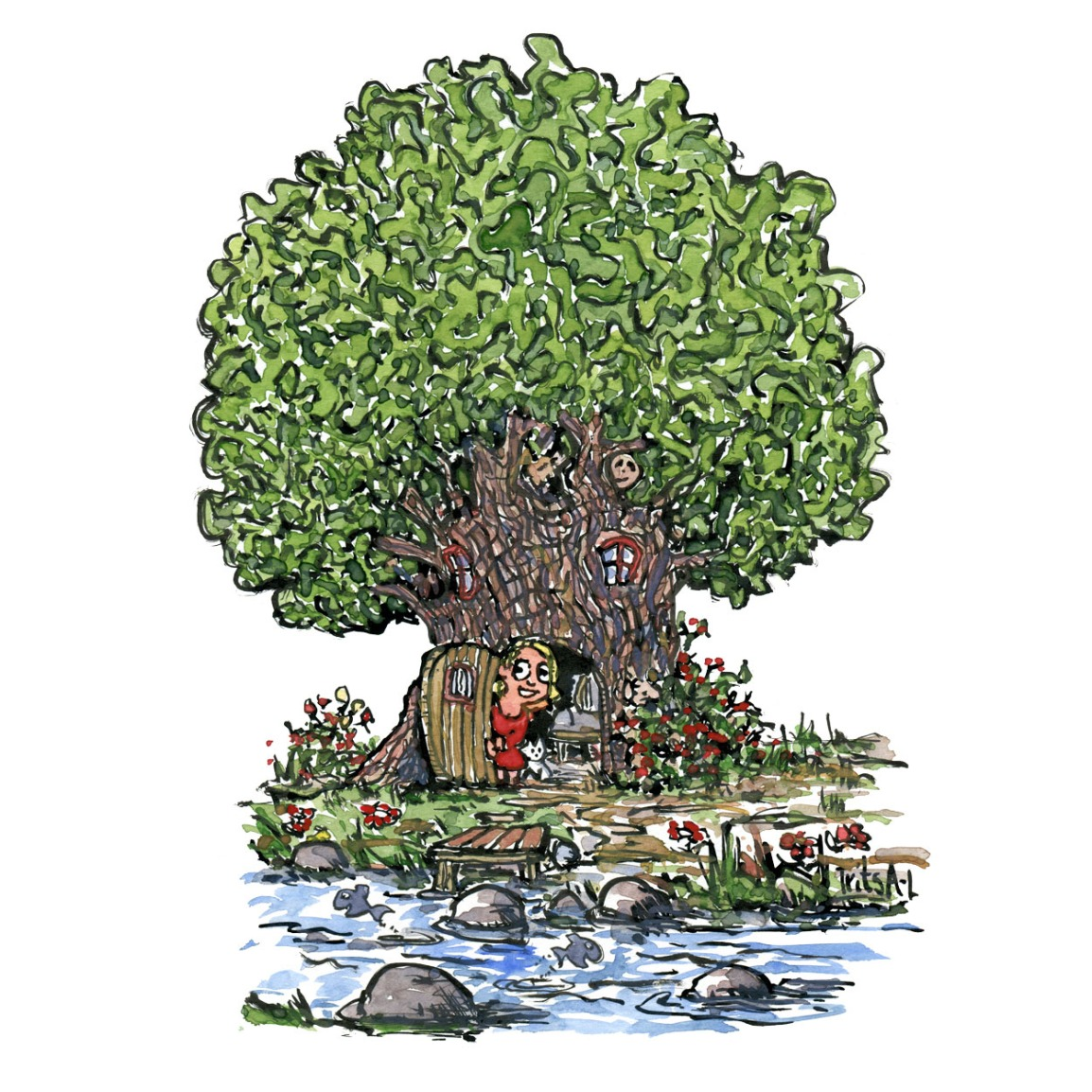 Drawing of a woman opening the door to her home in a tree in front of a stream. Illustration by Frits Ahlefeldt