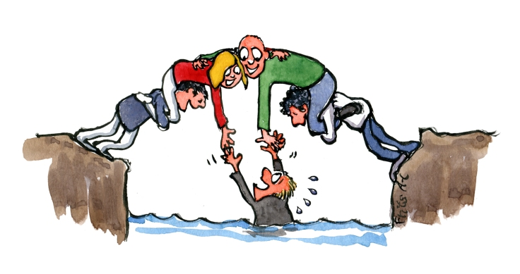 Group of people becoming a bridge helping a man in the water