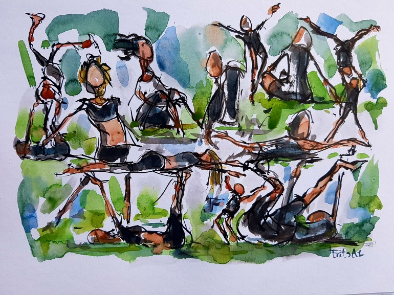 Group of people doing acrobatics, sketch