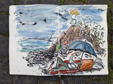 Bornholm-moleskine-sketch-relaxing-by-the-rocks-coastal-trail-drawing-by-frits-ahlefeldt