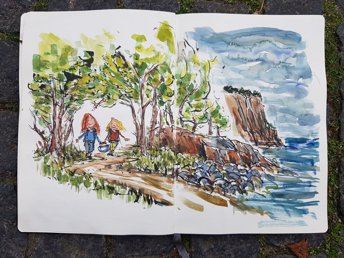 Drawn hiking logbook Bornholm