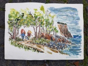 Walking along the coast trail, along a narrow path, protected by trees